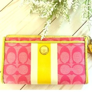 Coach Pink and Yellow Wallet Wristlet